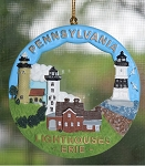 Scaasis Round Ornament, Pennsylvania Lighthouses, #ROPA
